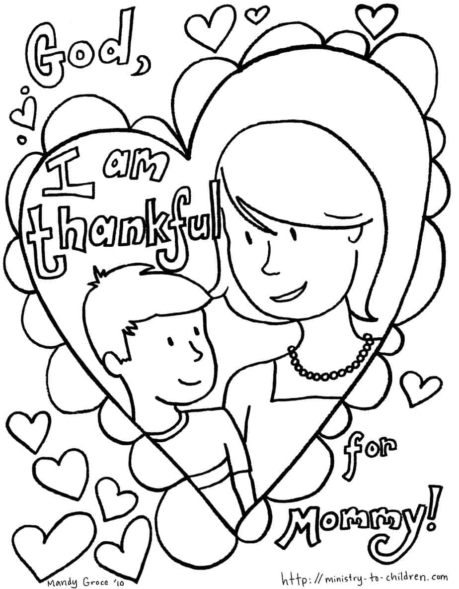 coloring pages mom and kids - photo#4