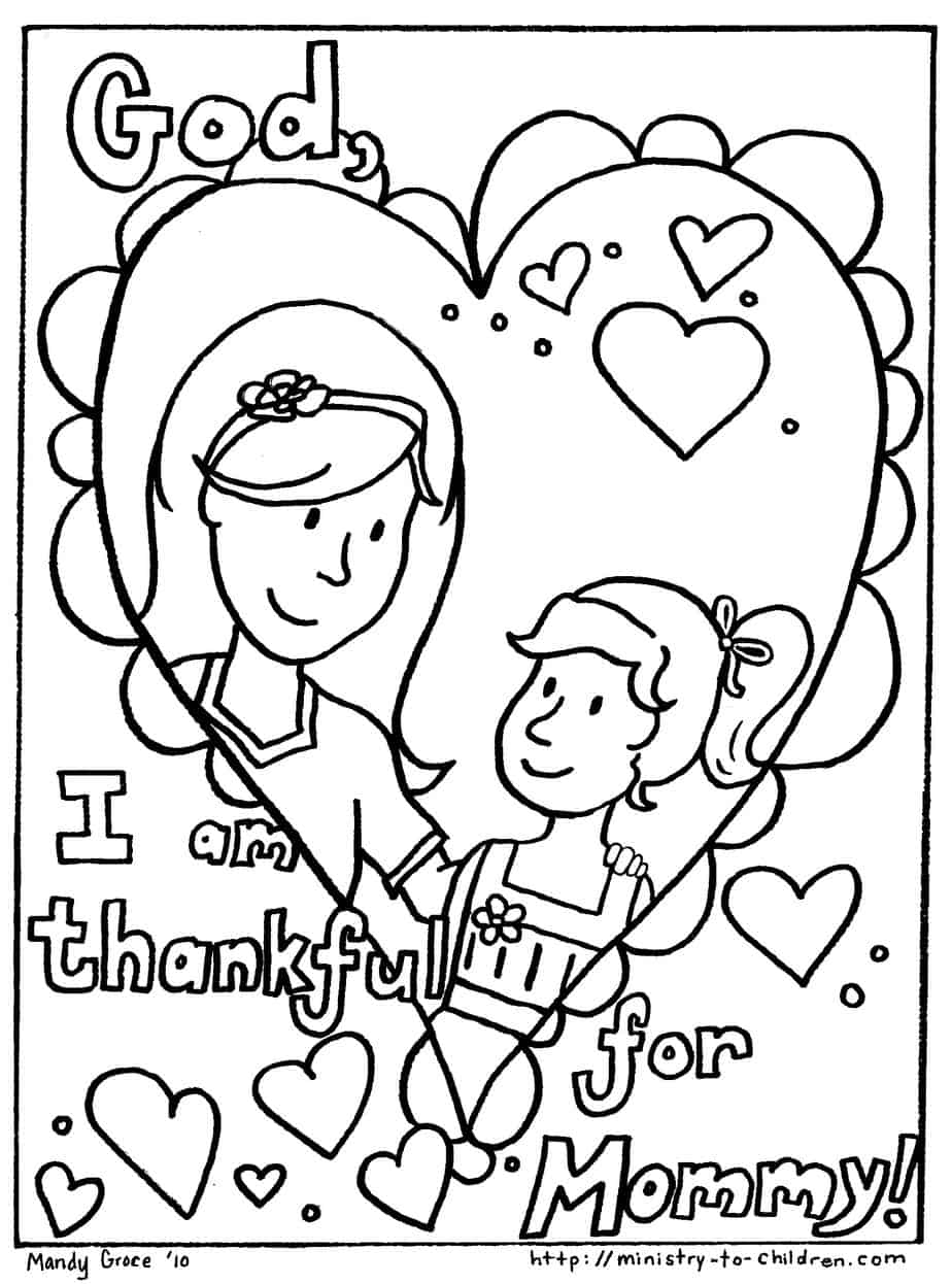 coloring pages mom and kids - photo#37
