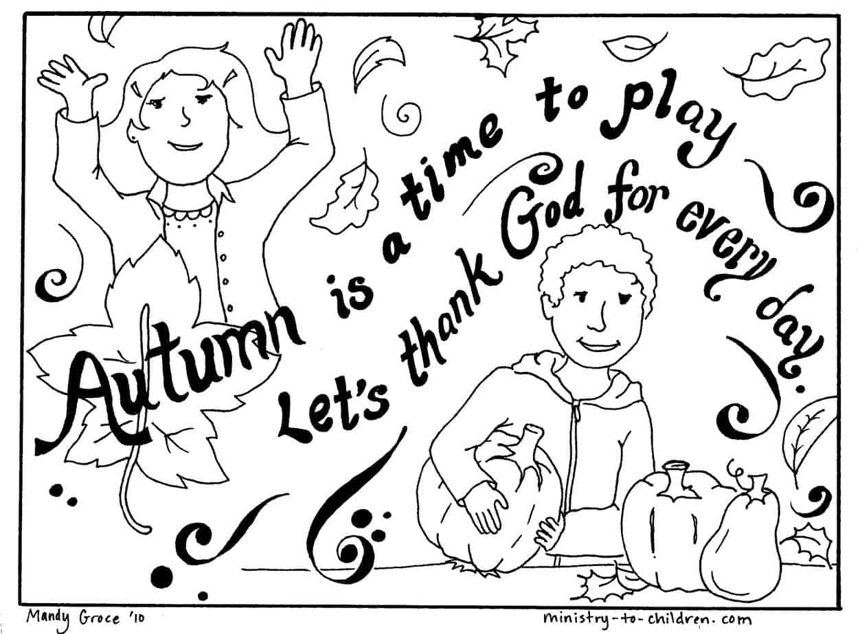 Autumn Coloring Page Let S Thank God Easy Printable Pdf