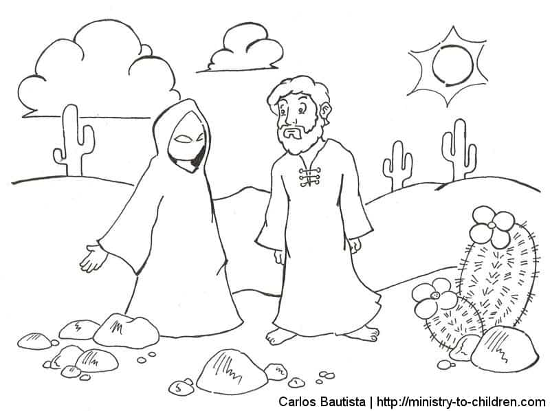 Jesus Overcomes Temptations Coloring Pages: free printables