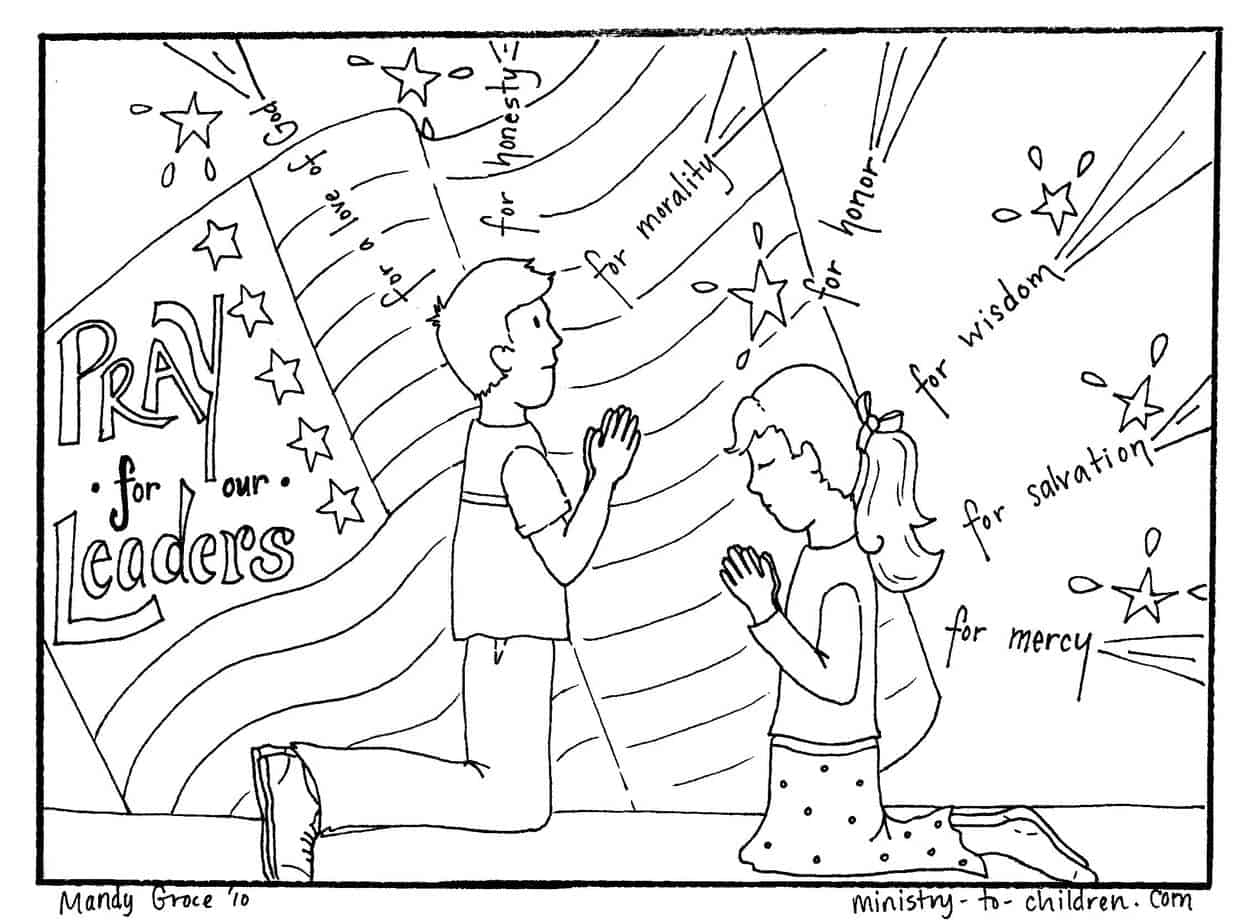 """""""Prayer for Our Leaders"""" Coloring Page (1 Timothy 2:1-4)"""