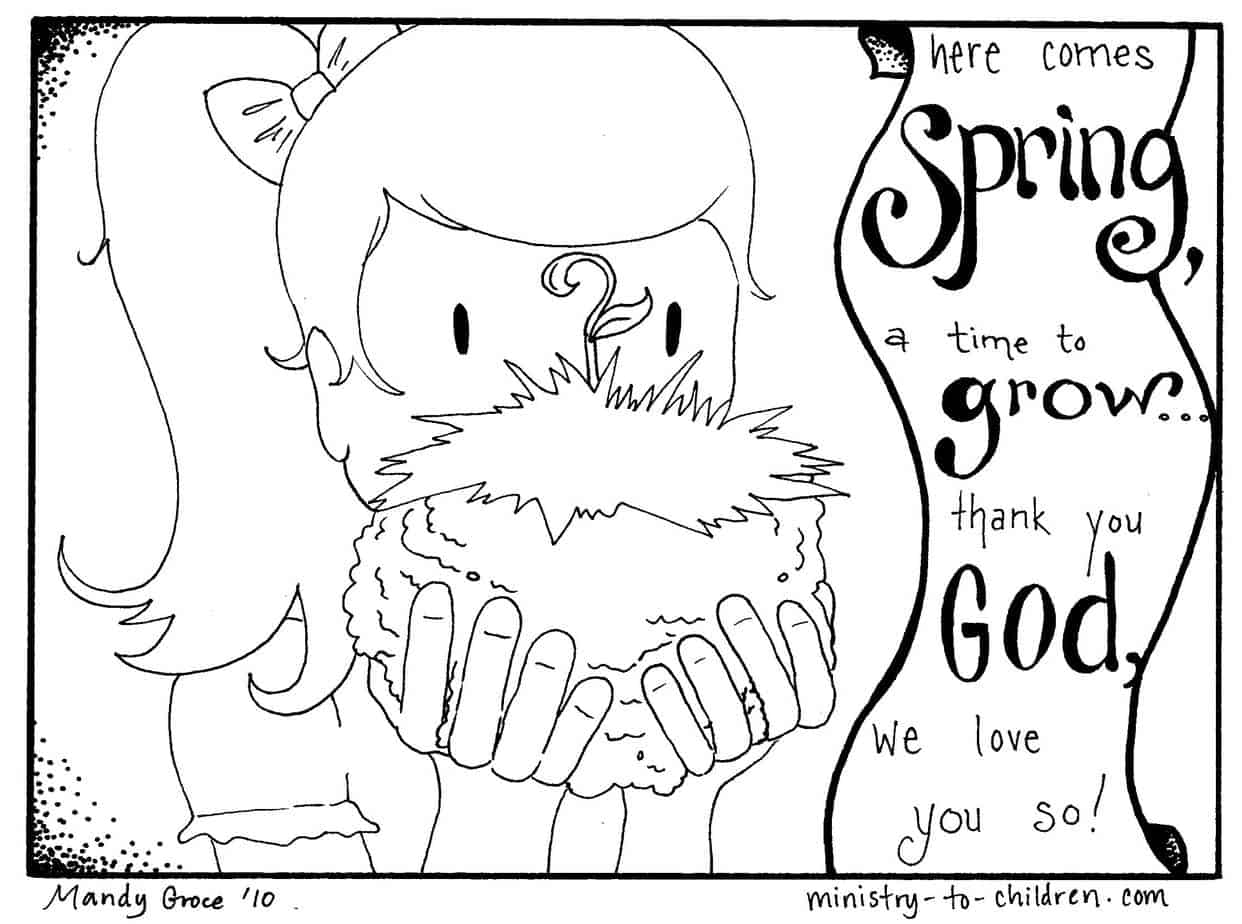 2 Spring Coloring Pages Easy PDF Print 100% Free