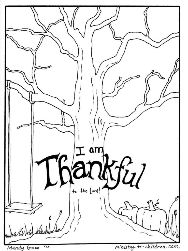 thankful tree printable craft coloring page