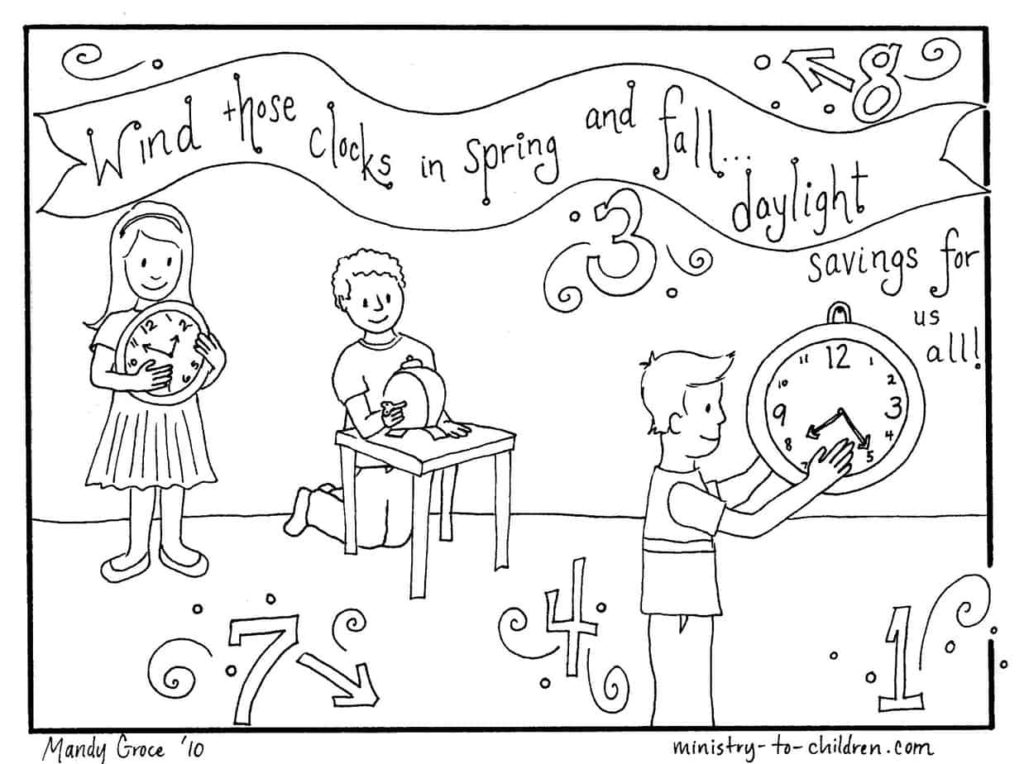 Daylight Savings Time Change (Clocks) Coloring Page