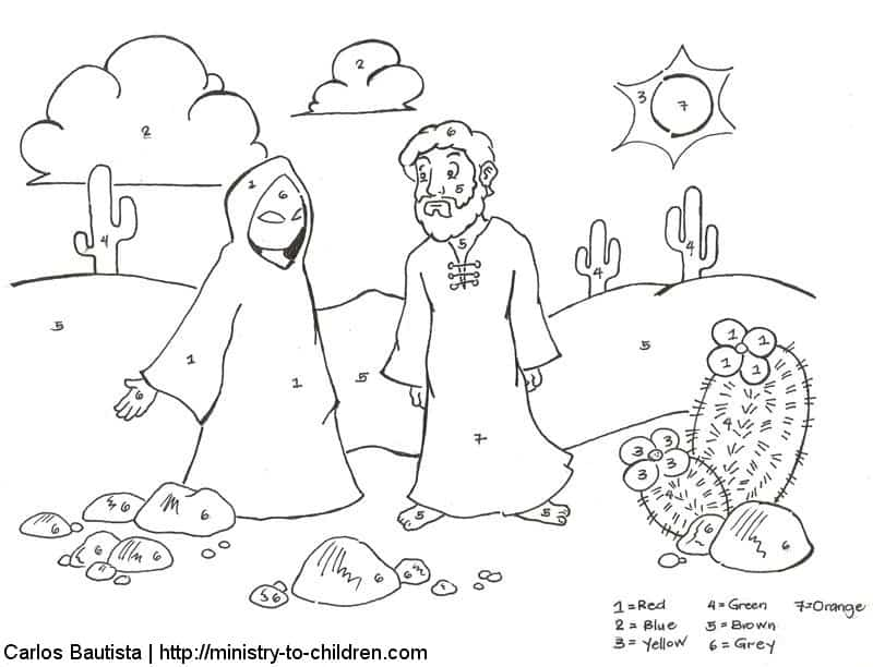 temptation of jesus coloring pages for kids | Jesus Overcomes Temptations Coloring Pages: free printables