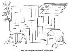 Resisting temptation maze activity sheet for kids