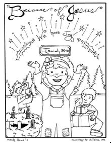 "printable Advent coloring page for kids ""We Have Joy"""