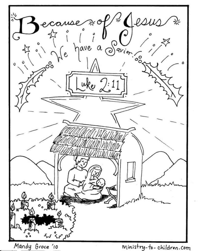 Nativity Scene Coloring Pages: Jesus is Here | Ministry-To ...