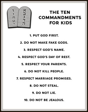 Printable paraphrase of the ten commandments in child's language