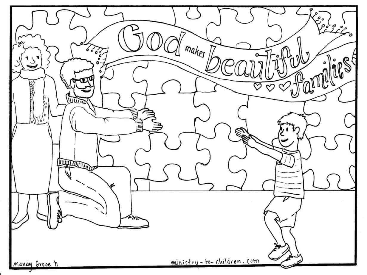 God makes beautiful families coloring page about adoption