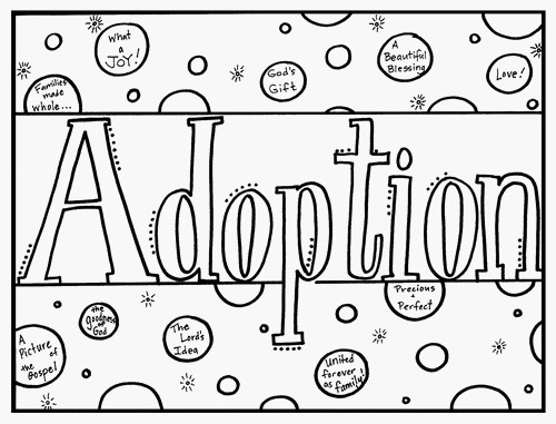 Adoption Coloring Book Cover Page