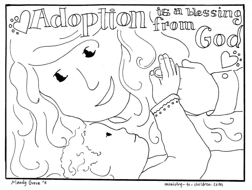 christian adoption mom coloring pages