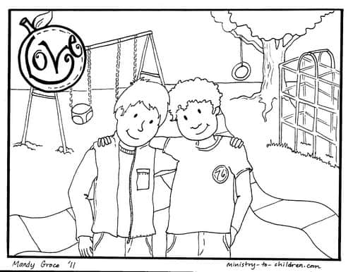 Love Coloring Page for Kids (Fruit of the Spirit)