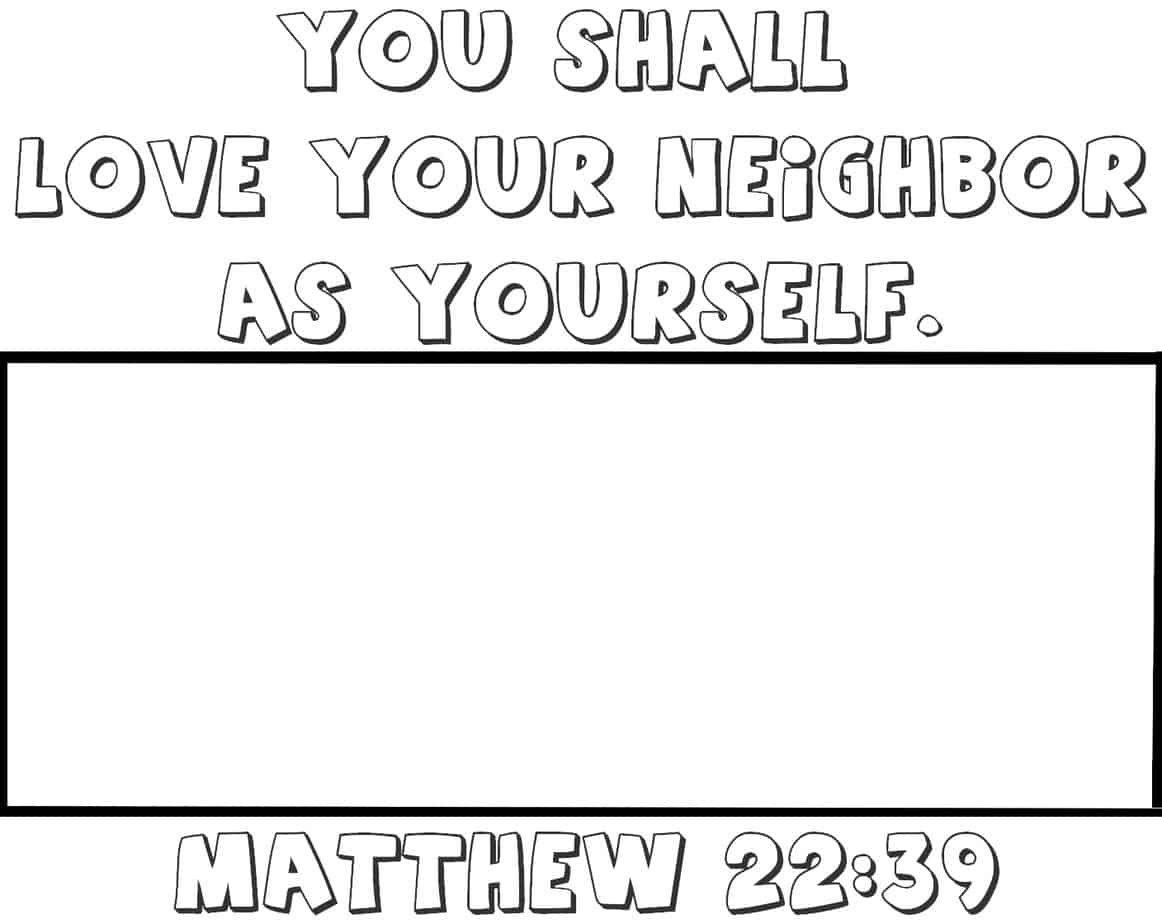 love your neighbor as yourself coloring page - 10 commandments coloring pages for kids