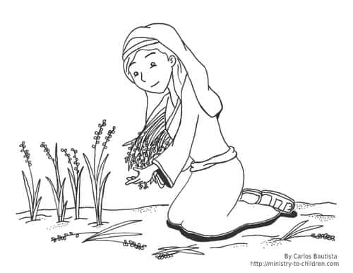 It is a graphic of Tactueux Ruth Coloring Page