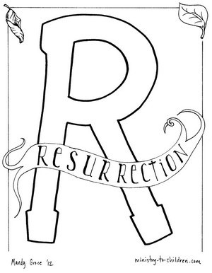 R is for Resurrection - Easter Coloring Page from the Bible Alpbahet