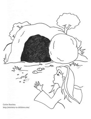 Empty Tomb Coloring Page for Kids - Mary surprised by the resurrection of Jesus