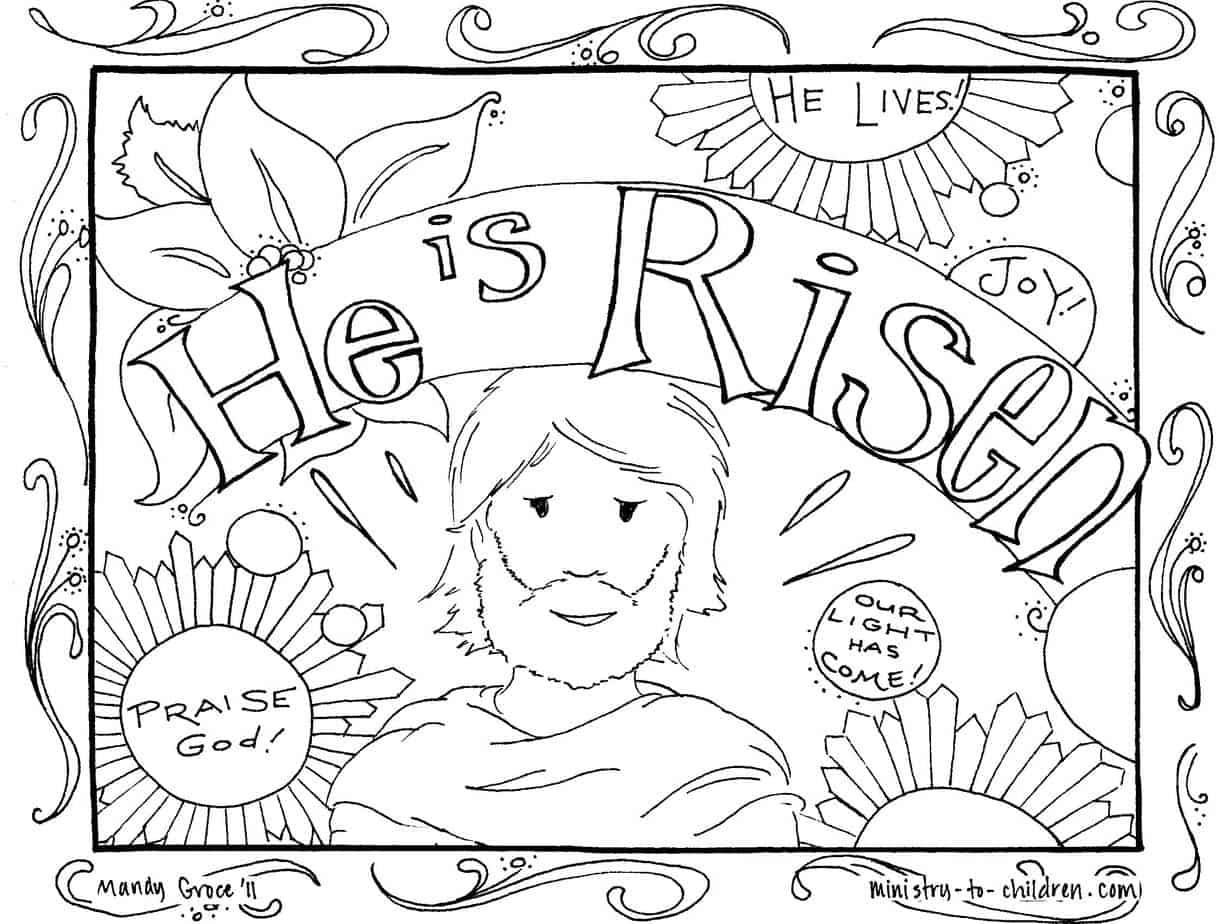 Jesus is risen free pdf coloring page for easter this detailed illustration would be ideal for older children or even adults