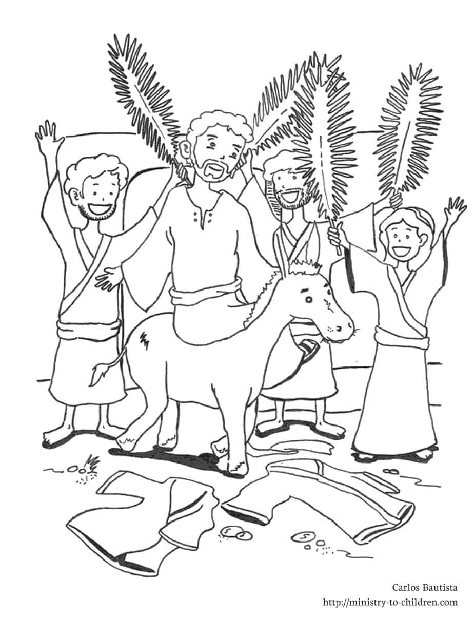palm sunday donkey coloring pages - photo#1