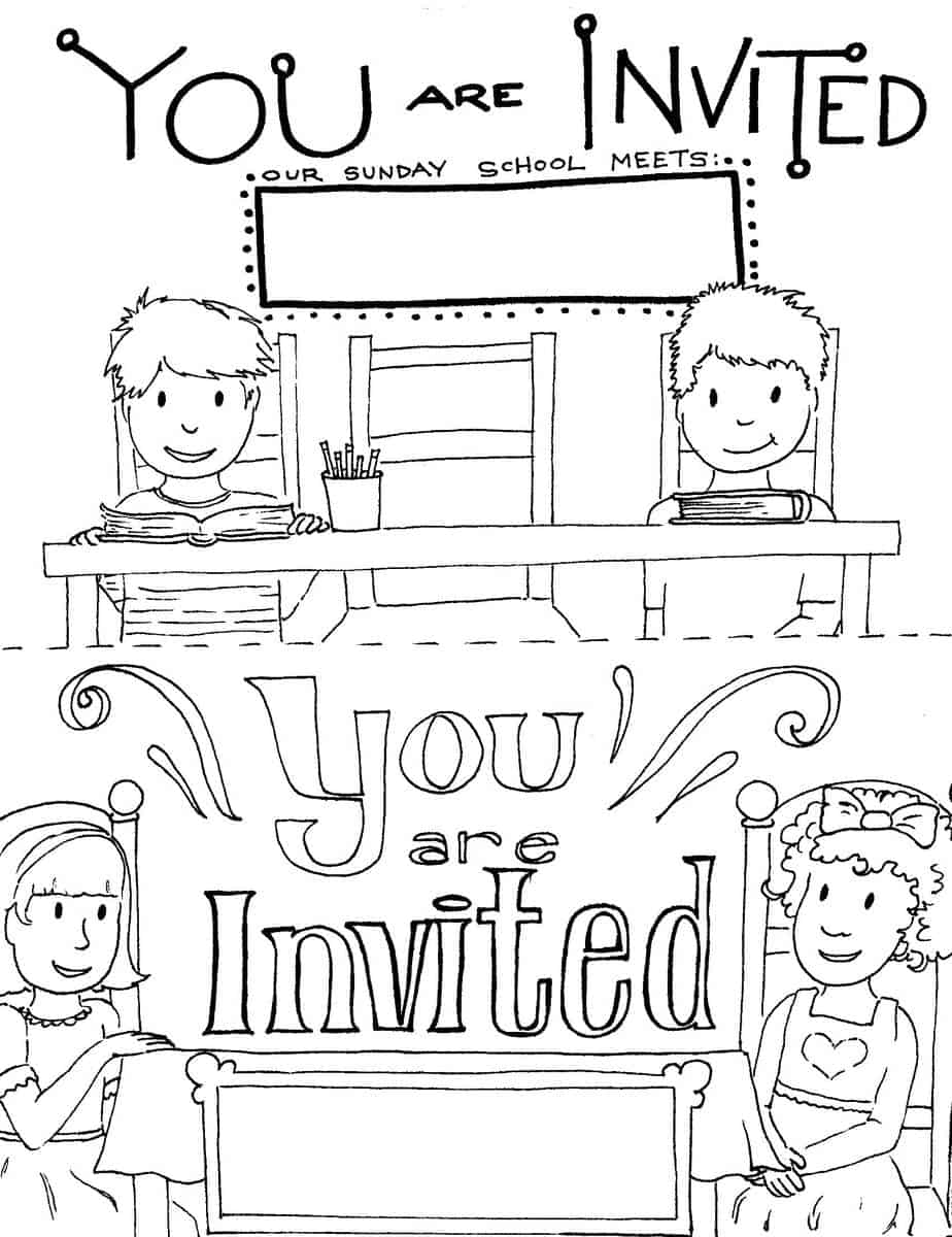 Printable sunday school invitations templates for Open house coloring pages