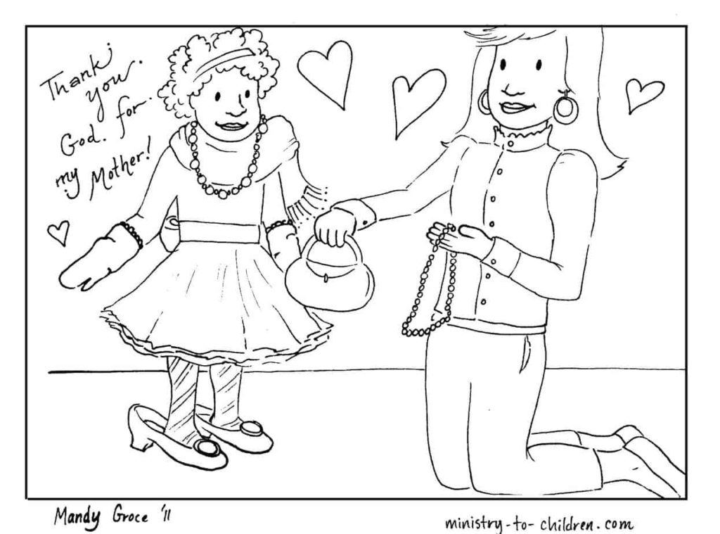 Mother's Day Coloring Page - African American Ethnicity - Mother and Daughter Line Drawing