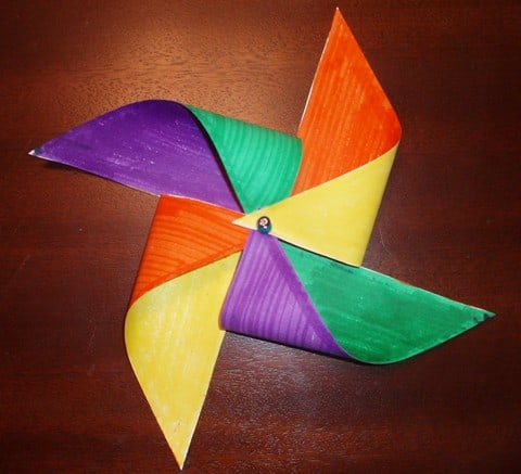 Pinwheel craft folded paper