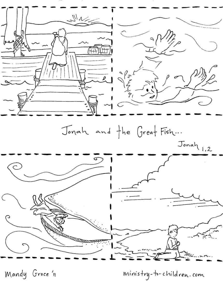 Videos To Jonah Story 1 Jonah The Whale Children S Bible Jonah And The Big Fish Coloring Page