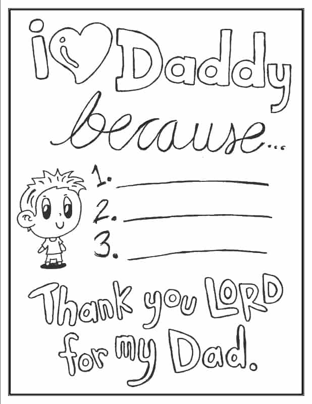 I love daddy because (boy - son version) activity coloring page