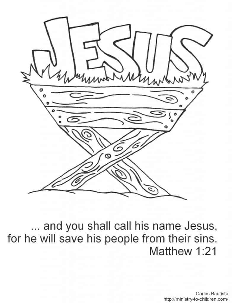 Name Jesus manger coloring page