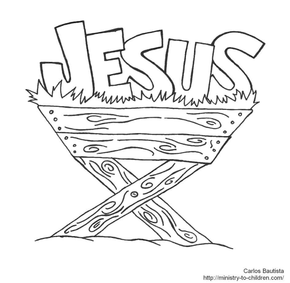 Jesus in manger coloring page for Coloring pages of jesus