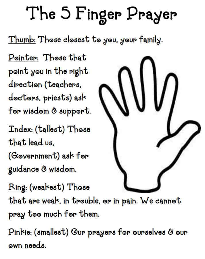 Printable 5 Finger Prayer for Kids