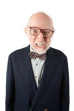 grumpy old man in church clothes