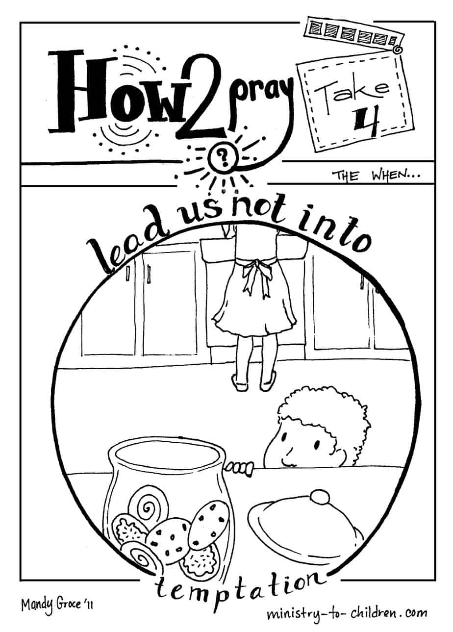 "temptation of jesus coloring pages for kids | ""Lead Us Not Into Temptation"" Coloring Page"