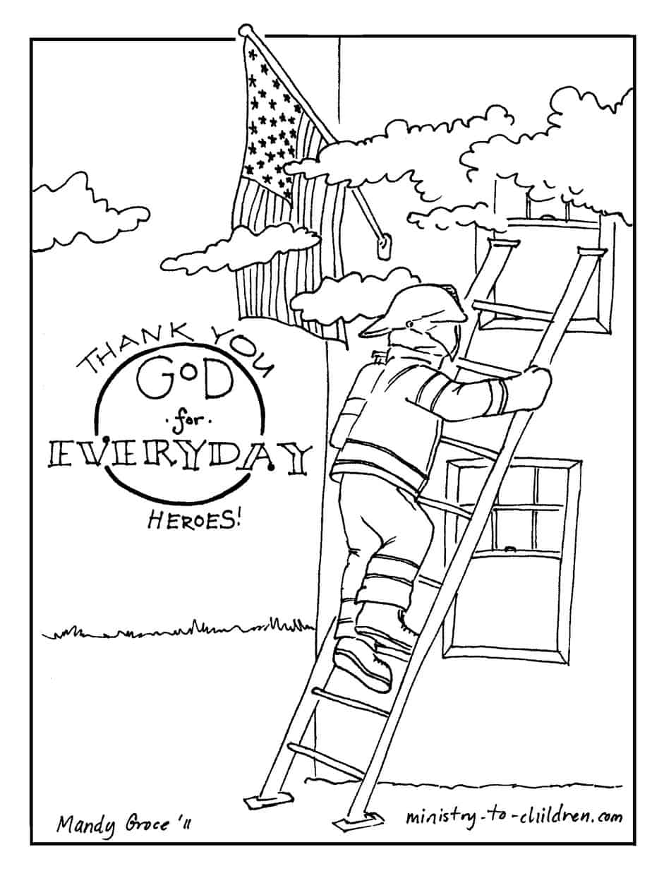 Firefighter Coloring Page Thank God For Everyday Heroes
