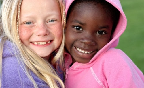 Two girls showing friendship