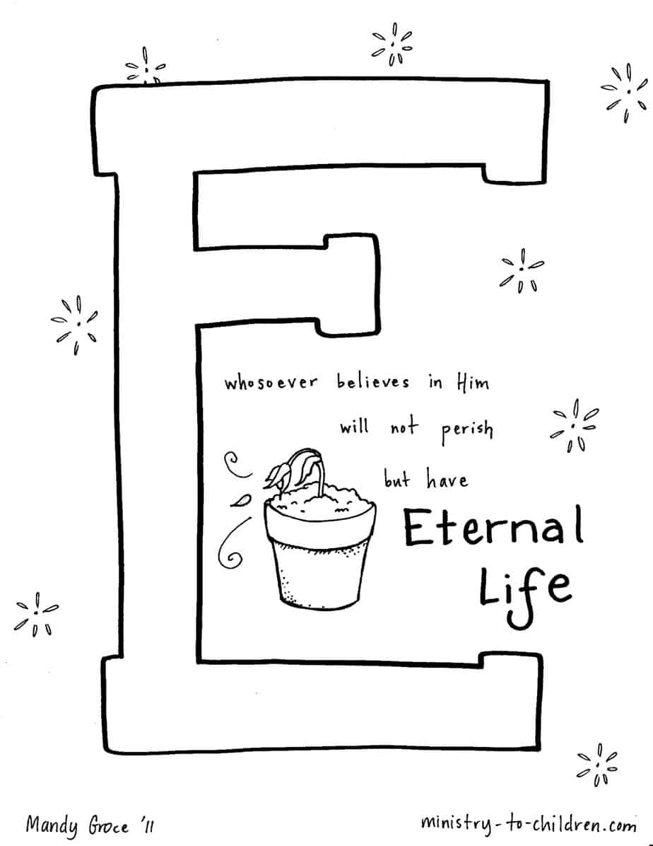 """E is for Eternal Life"" Coloring Page 