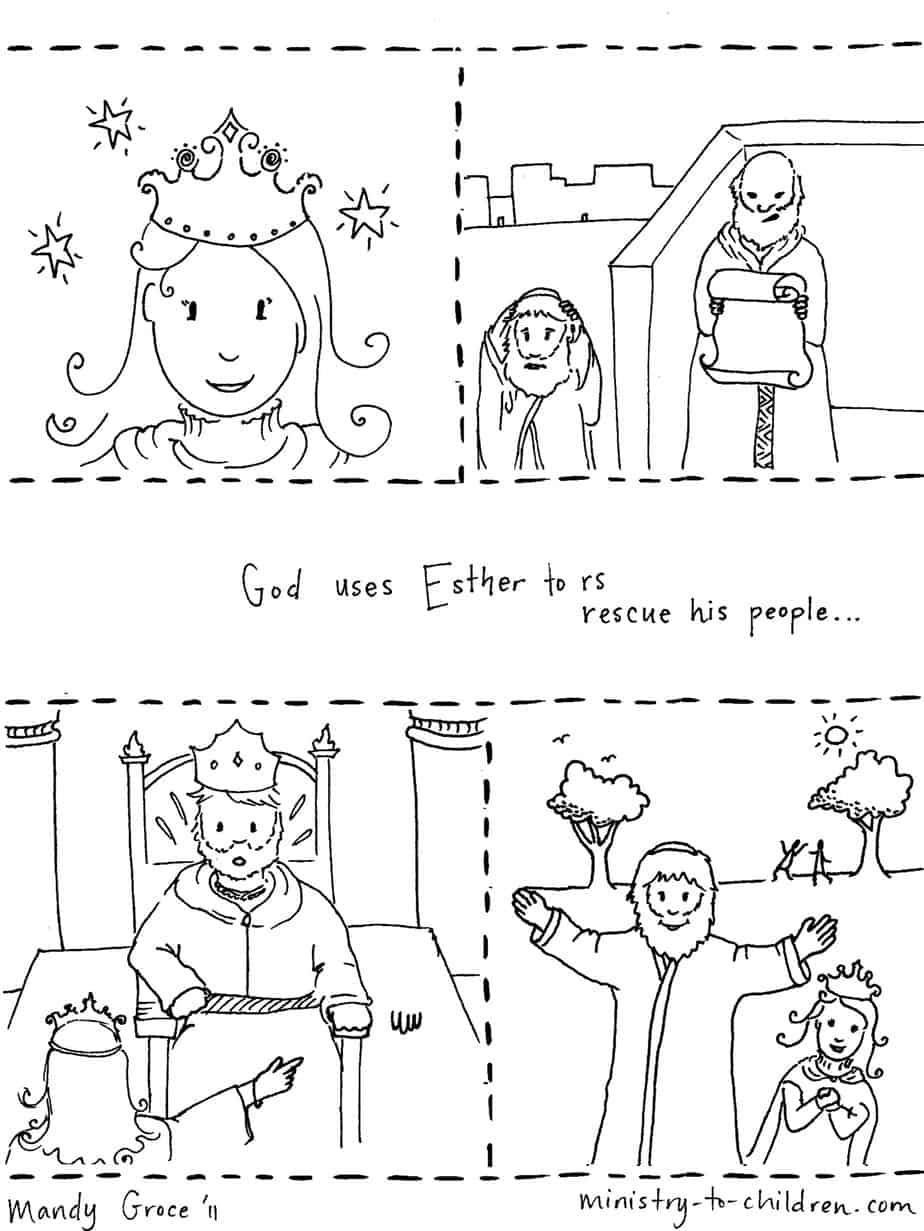 Story of esther coloring page for Bible story coloring pages printable