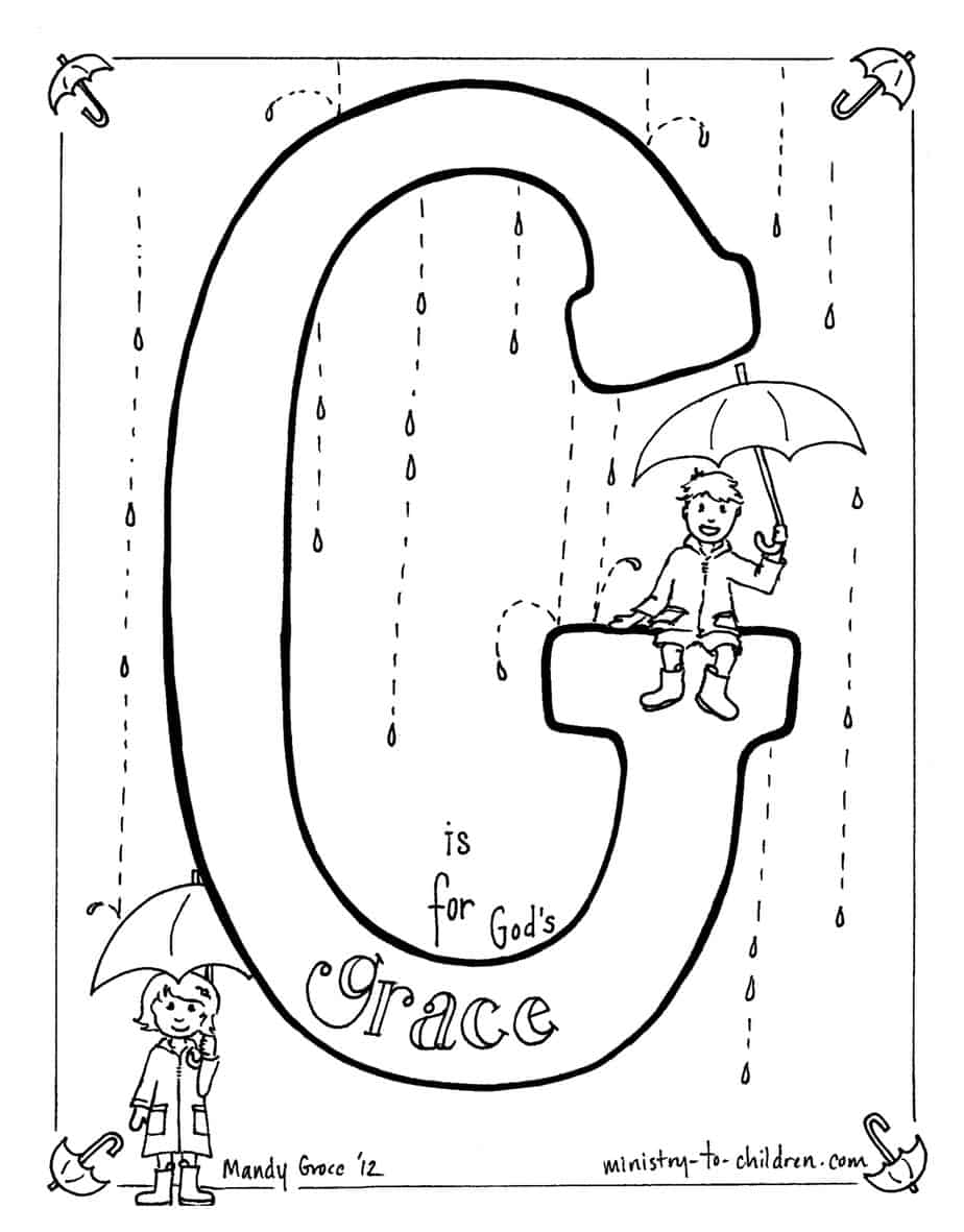quot G is for God 39 s Grace quot Bible Alphabet coloring page