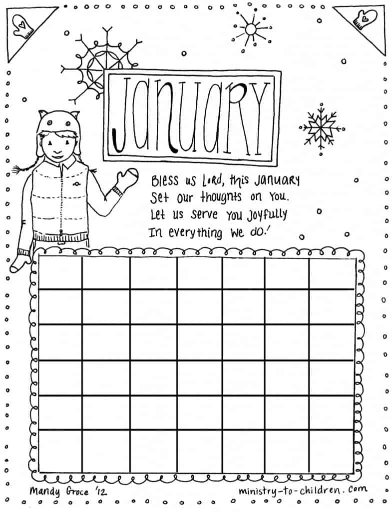 January New Year Calendar Coloring PAge