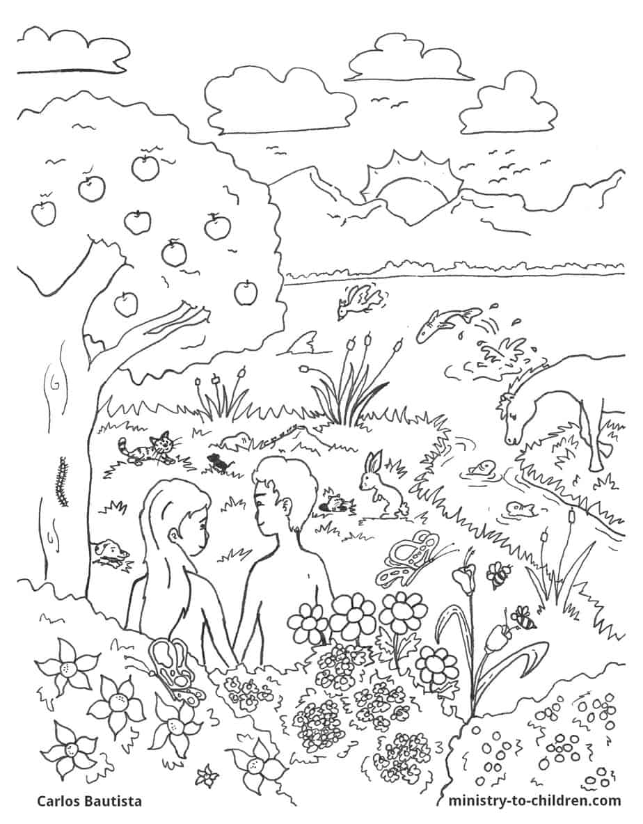 Creation bible coloring page free download for Garden of eden coloring page