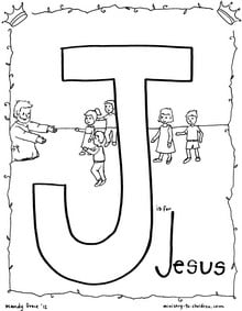 Free J is for Jesus coloring sheet