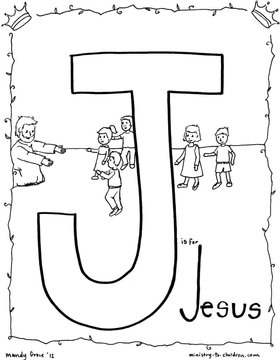 Free preschool coloring pages for christians ~ J is for JESUS - Bible Alphabet Coloring Page