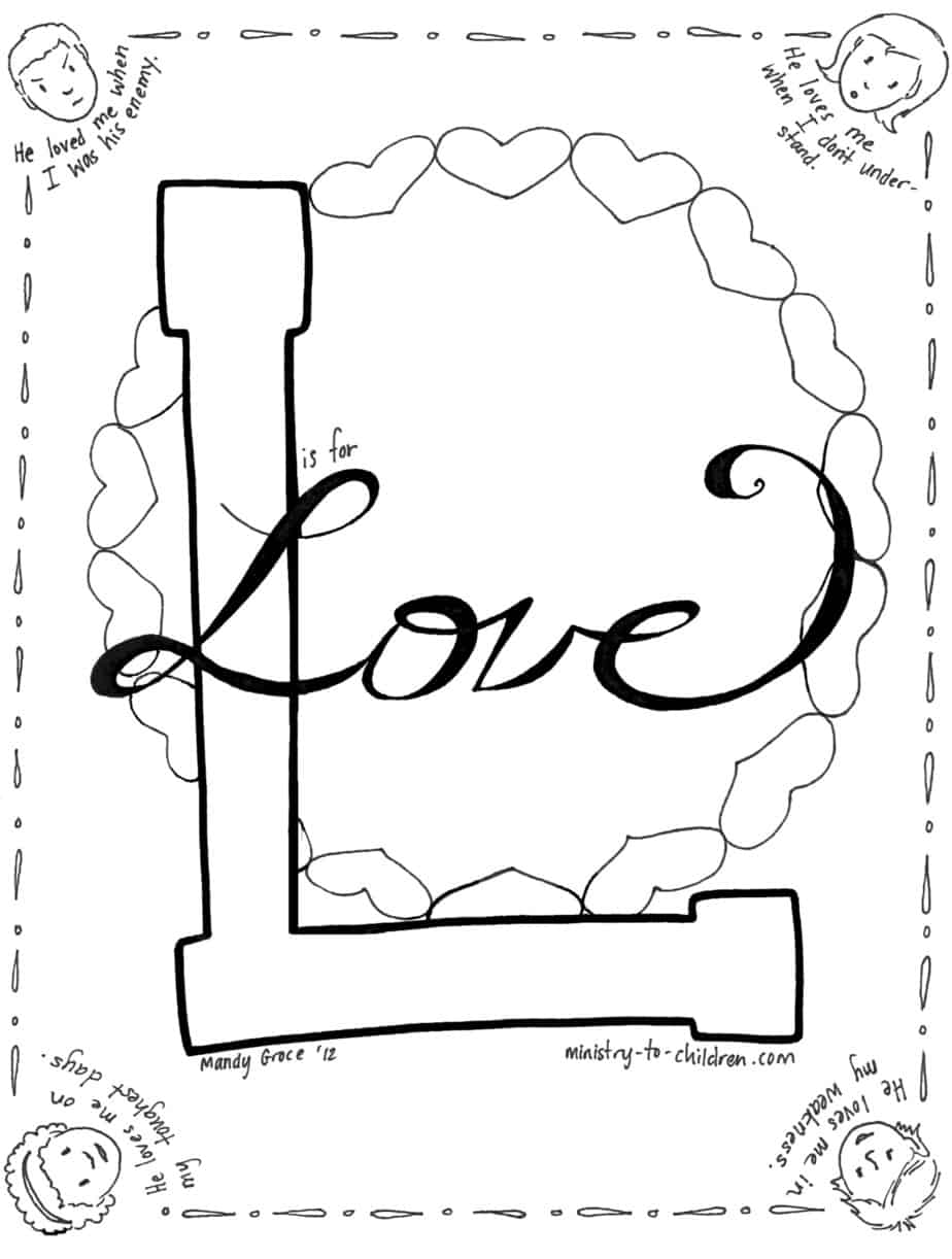 u0026quot l is for love u0026quot  coloring page