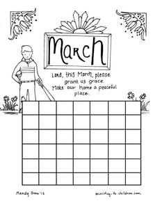 Coloring Page Calendar for March