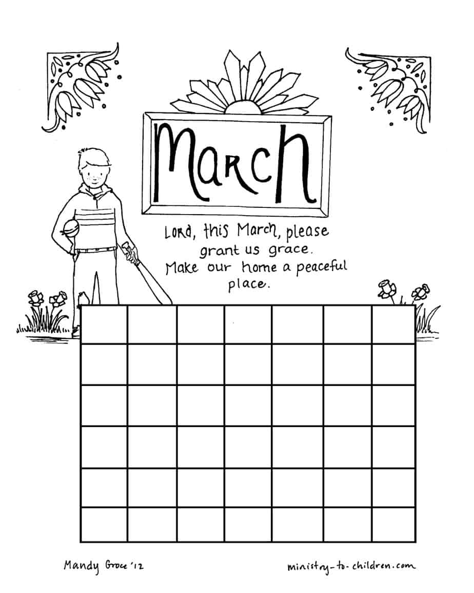 March coloring page calendar sheet for Calendar coloring page
