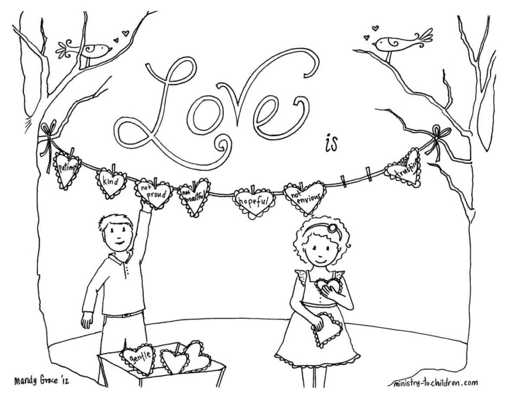 Biblical Love coloring page based on 1 Corinthians 13