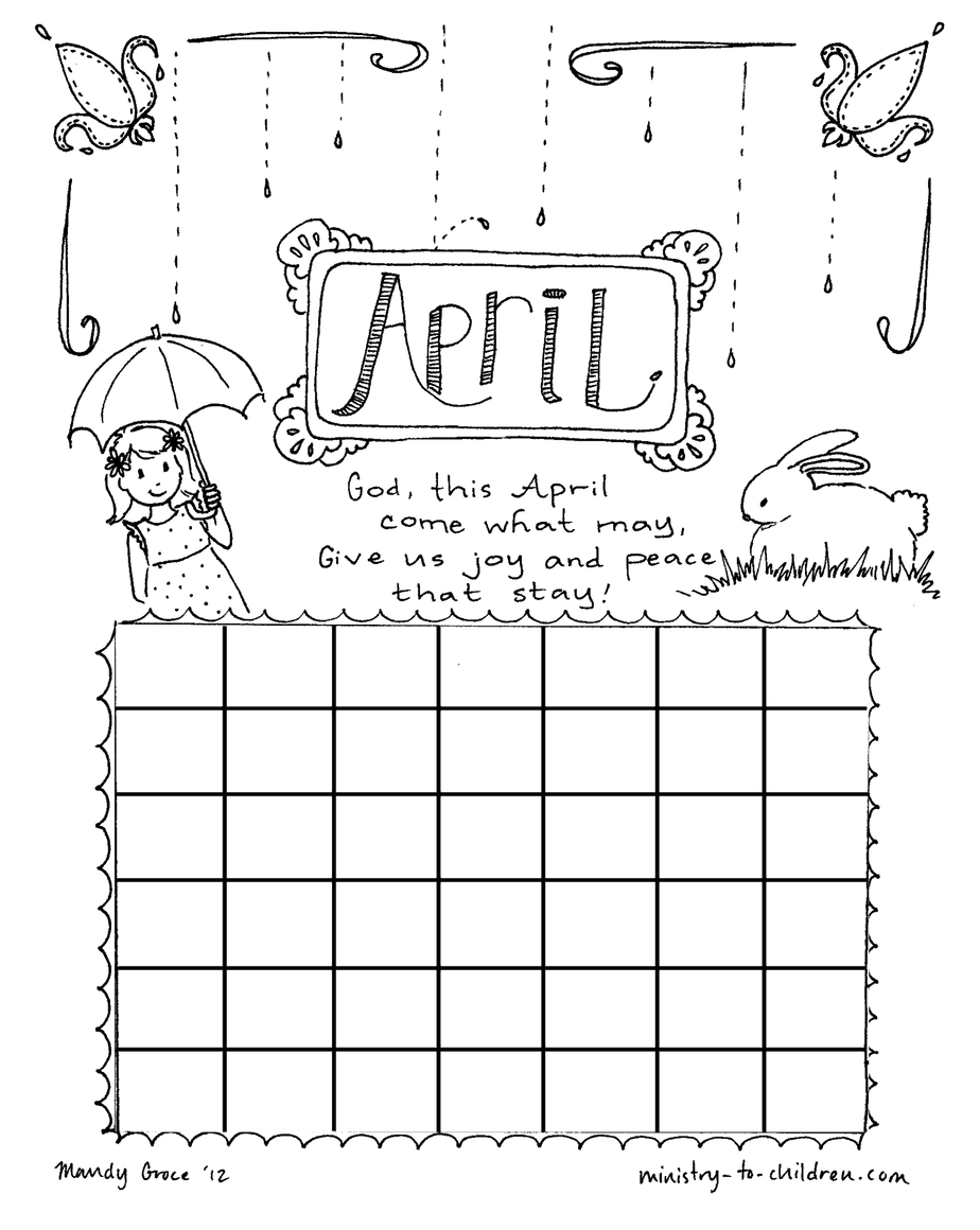 april coloring page calendar sheet for kids