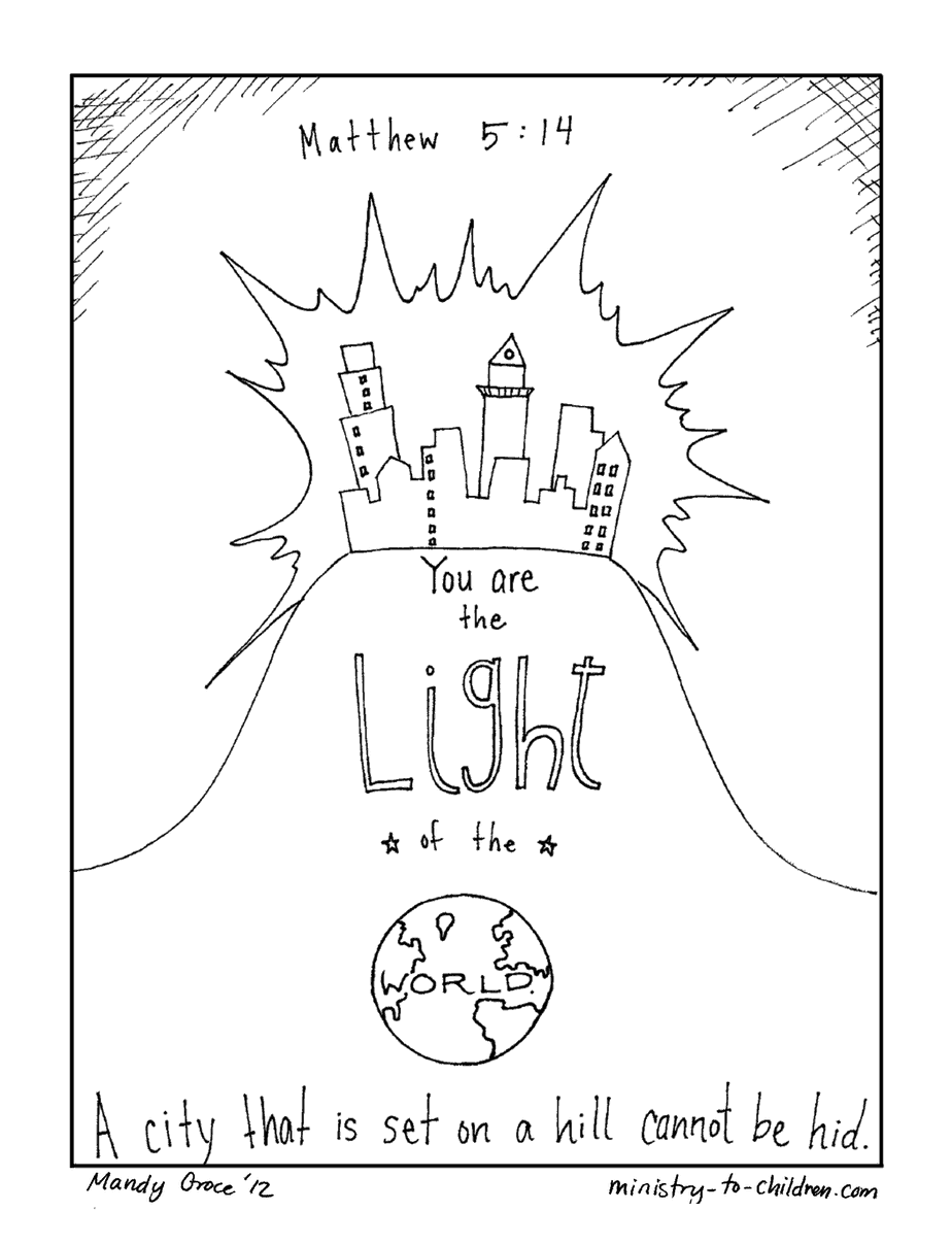 Matt 5:14 Coloring Page: Light the World & City on a Hill