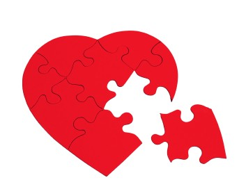 Heart puzzle pieces