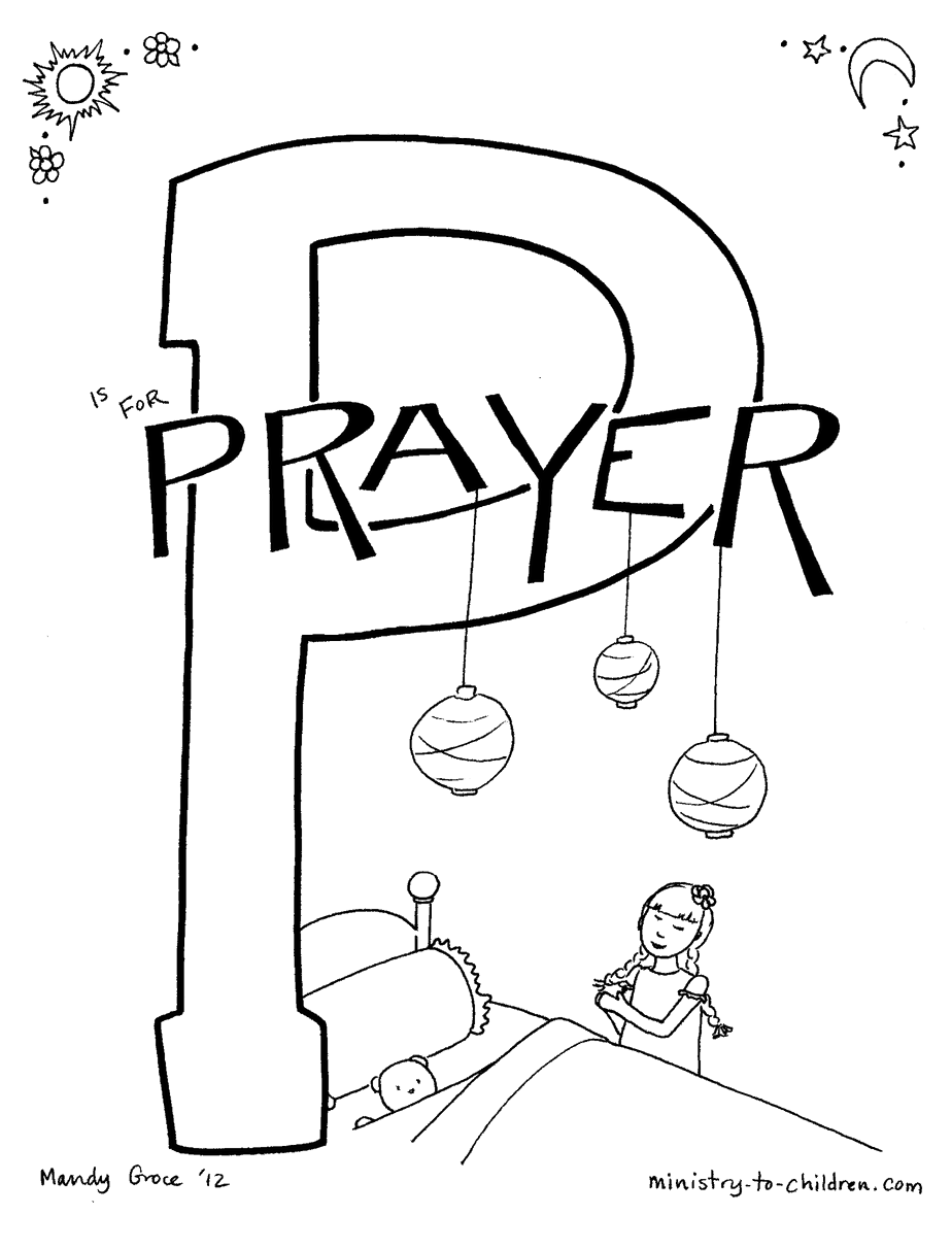"""P is for Prayer"" Bible Alphabet coloring page"